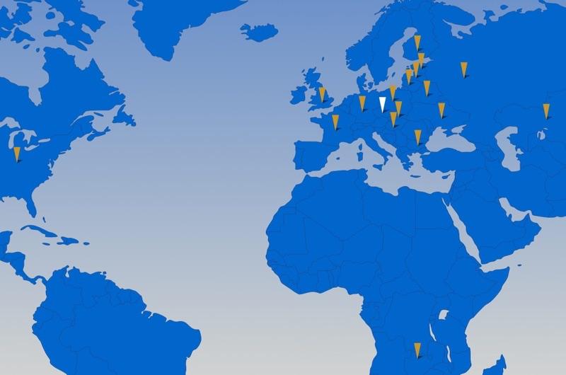 World map of representatives JK Machinery